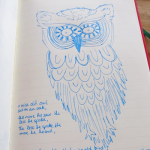 Crazy eyed owl.  blue marker